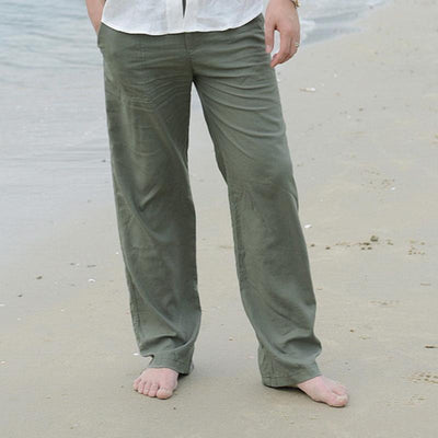 Spring/Fall Men Solid Loose Beach Pants