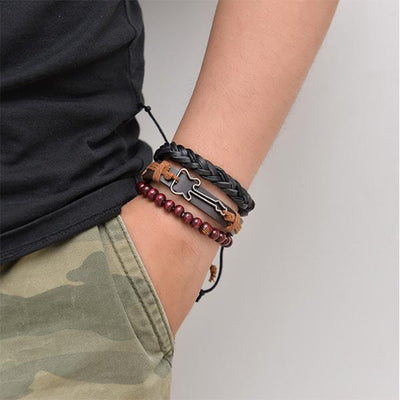 Men's retro multi-layer braided leather bracelet