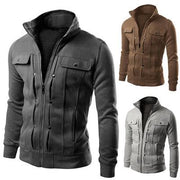 Mens outdoor stand-collar thin sweater jacket