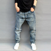 New Men's Fashion Washed Loose Straight Jeans