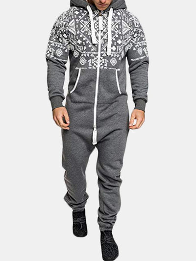 Men's Casual Hooded Jackets Slim Siamese Sweater Hooded Overalls Male Jumpsuit