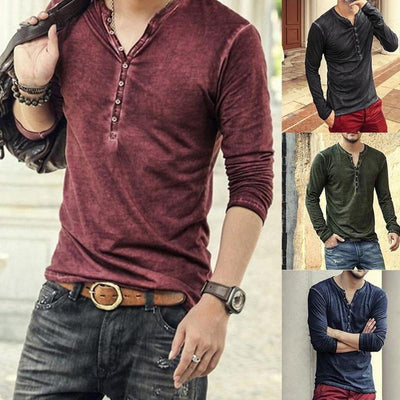 Men's V Collar Sleeve T-shirt