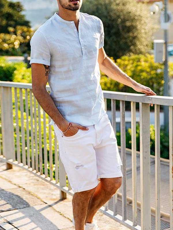 Men's Cotton Linen Short Sleeve Shirt T-Shirt