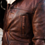 Mens Fashion Vintage Solid Color Leather Lincoln Jacket
