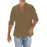 Men's Cotton Linen Pocket Loose Shirts