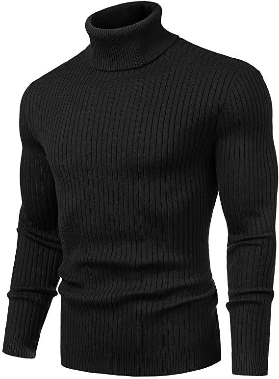 Men's Turtleneck Slim Fit Soft Knitted Basic Pullover Sweater