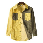 Mens Corduroy Patchwork Turn Down Collar Long Sleeve Shirts