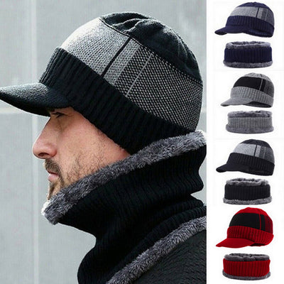 Men's Winter Hat Skullies Wool Scarf Hat