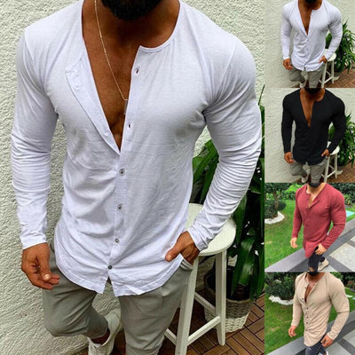 Men's Single Breasted Long Sleeve Casual Shirt