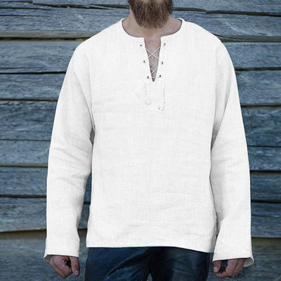 Men's Solid Color V-neck Long-sleeved Shirt