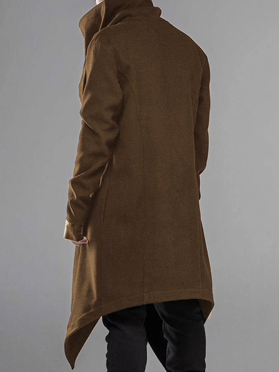 Men Cool Casual Solid Color Irregular Long Sleeve Button Front Midi Cardigan