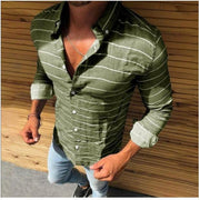 Men's casual fashion beach comfortable and breathable long-sleeved shirt