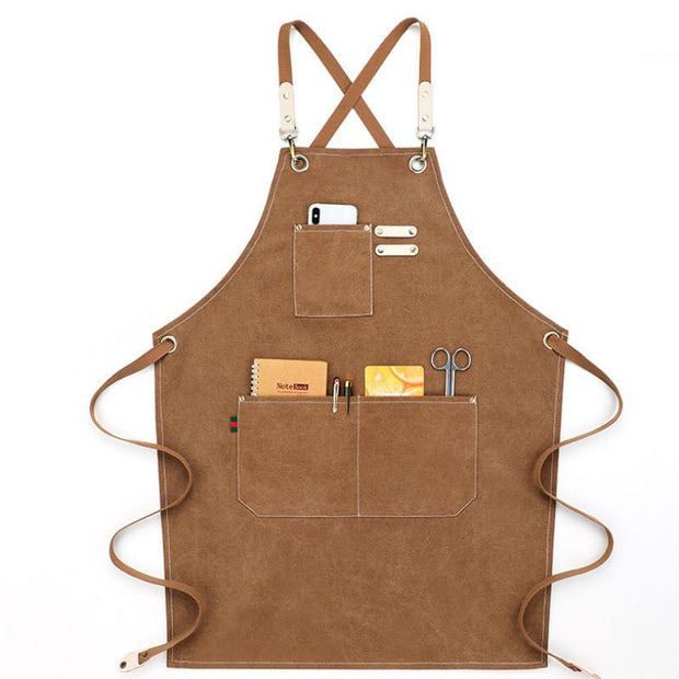 Adjustable Cross Back Cotton Canvas Apron for Women Men