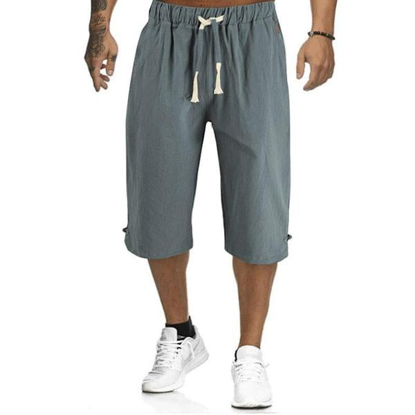 Men's Summer Plain Casual Cotton And Linen Cropped Trousers