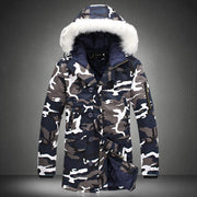 Camouflage Parka Mens Winter Jacket Men Big Fur Collar Fashion Middle Long Coats