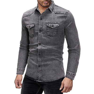 Men's Casual Denim Shirt High Quality Long Sleeve Jean Shirt