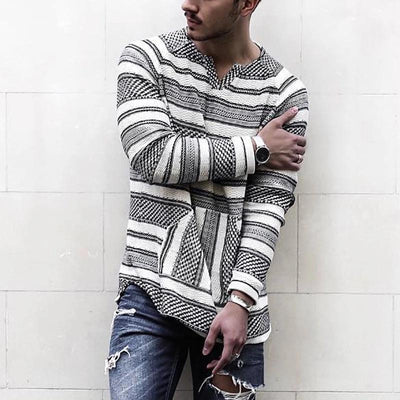 V Neck Stripe Pattern Long Sleeved T-Shirt
