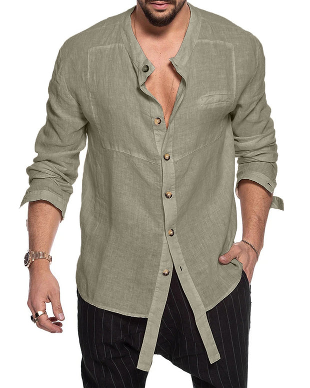 Long Sleeves Plain Fall Men's Shirt