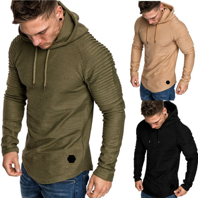 Men's Long Sleeve Hoodie Top Blouse Solid Color Sportswear