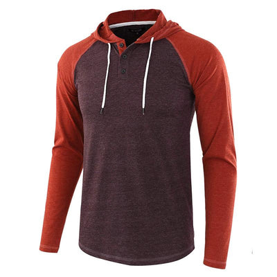 Men's Casual Loose Henry Stitching Color Hoodie