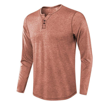 Men's Woollen Cotton Henley Regular Fit Lightweight Basic T-Shirt Long Sleeve