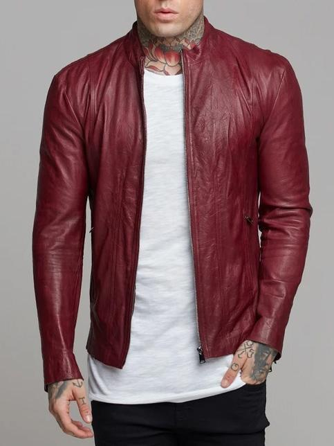 Stand-up Collar Leather Jacket