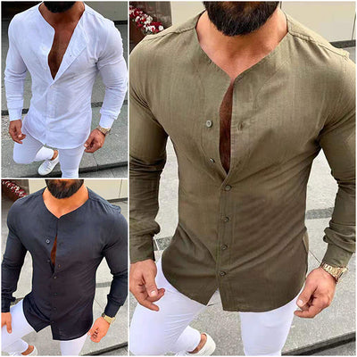Men's Casual Formal Slim Fit Business Autumn Shirt Tops
