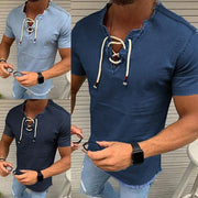 Lace-up tassel stretch men's denim shirts and shirts