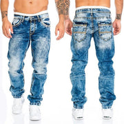 Men's Casual Topstitched Straight Hip Hop Denim Trousers