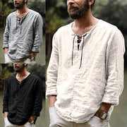Men's Solid Color Trend Cotton And Linen Top Shirt