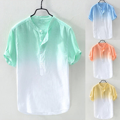Men's Stand-up Collar Gradient Color Cotton Linen Shirt
