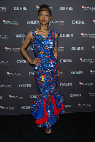 Oscar Winner for Production Design of Black Panther, Hannah Beachler, attends the Hamilton Behind the Camera Awards wearing a custom odAOMO gown and jewelry.