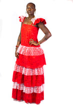 Load image into Gallery viewer, Our Cherie Lace Dress is a one-of-a-kind piece. It was handmade in Ghana using eco-friendly and sustainable materials and features a structured cap sleeve, a floor length hemline and back zipper closure. All odAOMO garments are designed by Dr. Sophia Omoro and produced in limited quantities.