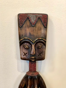Hand Carved and Beaded Acacia Wood Statue