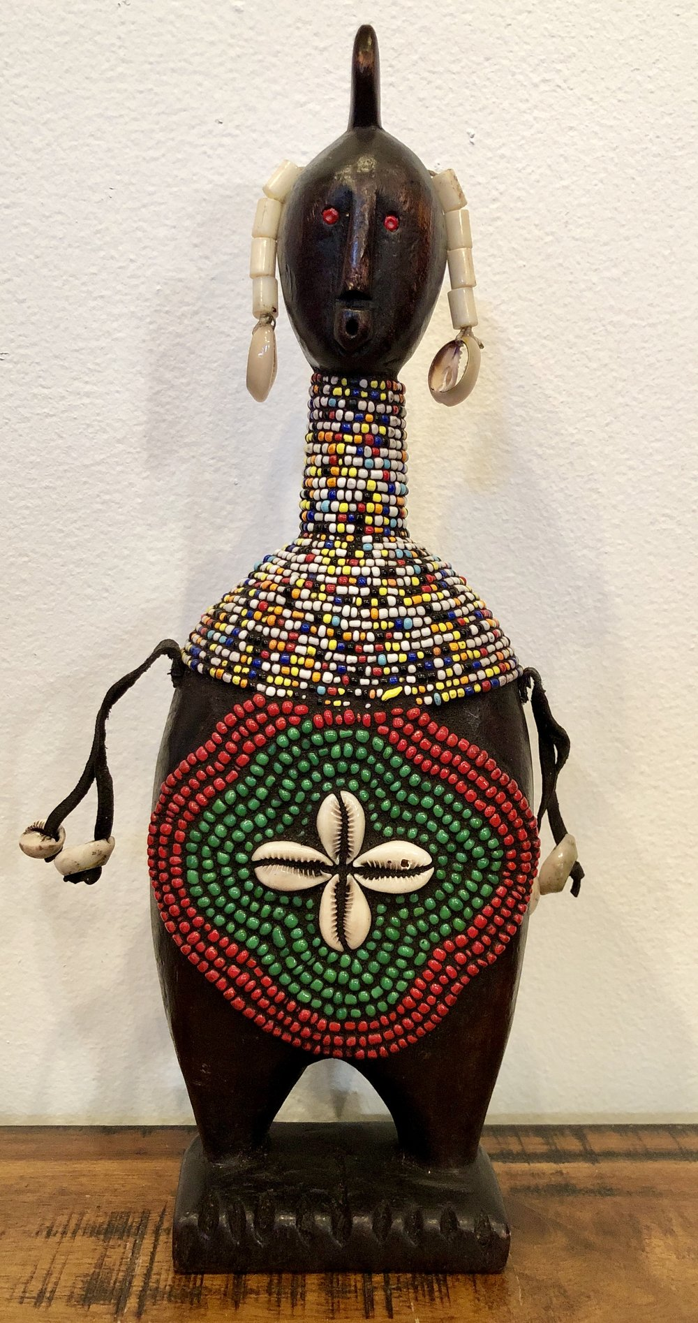 Small Hand Carved & Beaded Acacia Wood Statue w/Beaded Belly