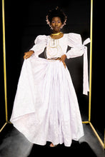 Load image into Gallery viewer, Our Full Princess Skirt is handmade in Ghana using 100% cotton, silver metallic sequins, and cotton threaded embroidery. The skirt is constructed with 10 yards of fabric creating beautiful volume with plenty of movement and pairs perfectly with our bridal tops. All odAOMO garments are designed by DR. Sophia Omoro.