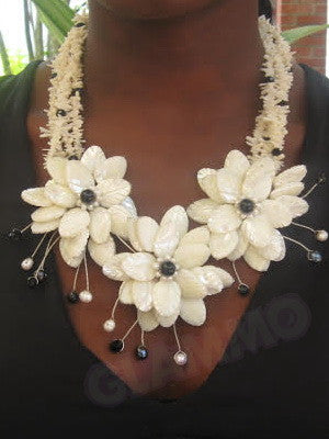 White coral mother-of-pearl necklace #mop3028