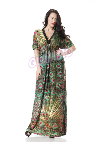 Deep V-Neck Peacock Print Maxi Dress #PL104