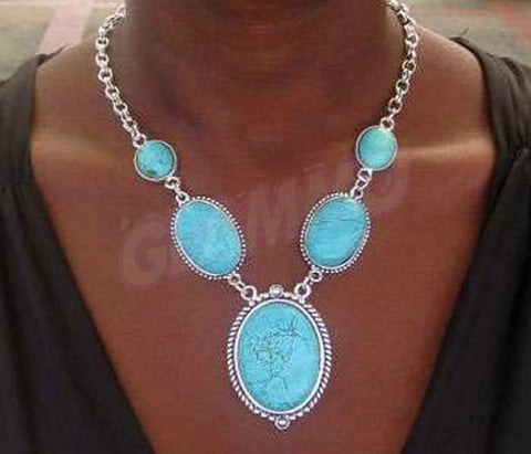 Classic stylish south-west Turquoise stone silver-plate detail necklace #st3087