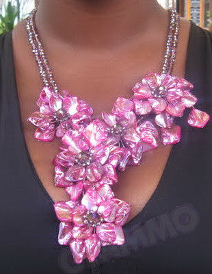 Fuchsia mother-of-pearl Y-shaped necklace #mop3034