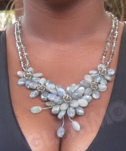 Hand-wired rare Labradorite Crystal flower necklace #cr3051