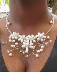 White Pearl Crystal flower necklace #st3164