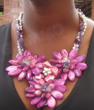 Fuchsia triple flower mother-of-pearl necklace #mop3035