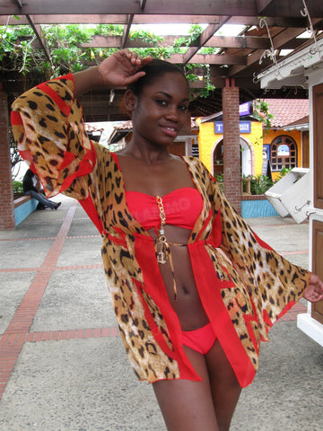 Red leopard chiffon beach cover-up #oy547