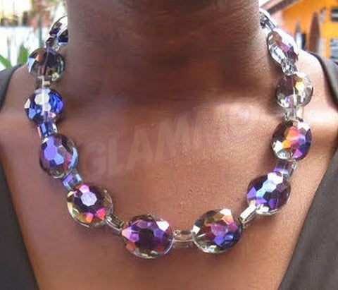 Dazzling purple faceted oval Bohemian Crystal necklace #st3111