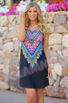 Black tribal scoop neck sun dress #gl337