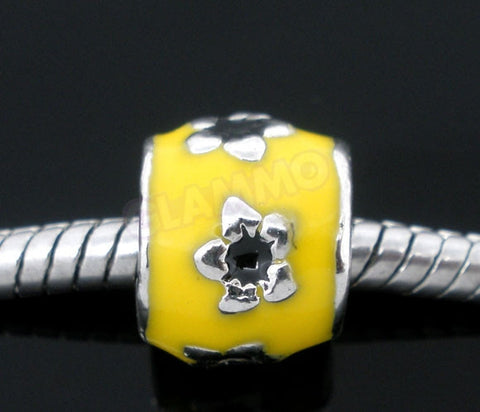 Yellow Silver-plated Flower European Bead #ye3548