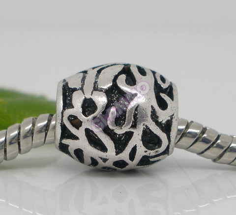 Black Silver Vines Cylindrical Spacer European Bead #ch4301