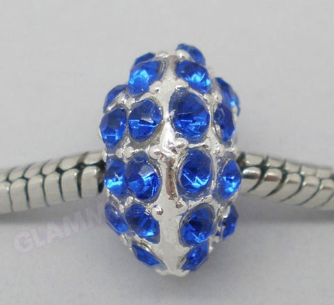 Royal Blue Pave Crystal European Bead #rb3542
