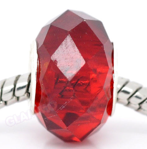 Faceted Red Crystal European Bead #rd3505